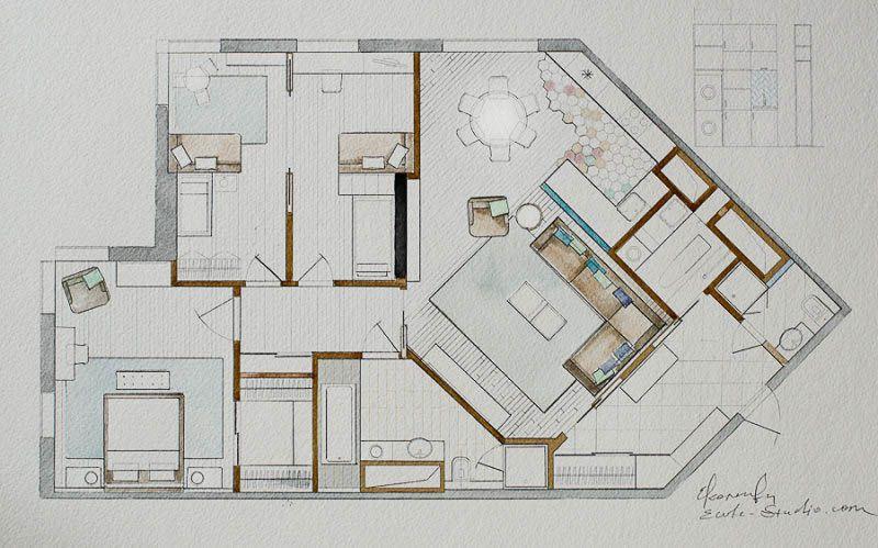 Планировочное решение трехкомнатной квартиры в «Золотых ключах»